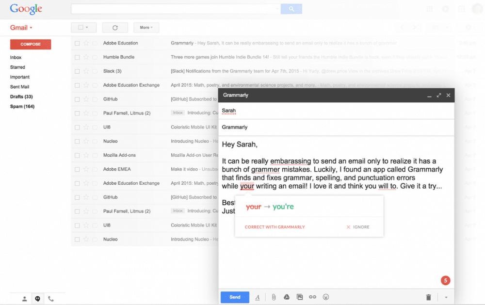 Grammarly checker in Gmail
