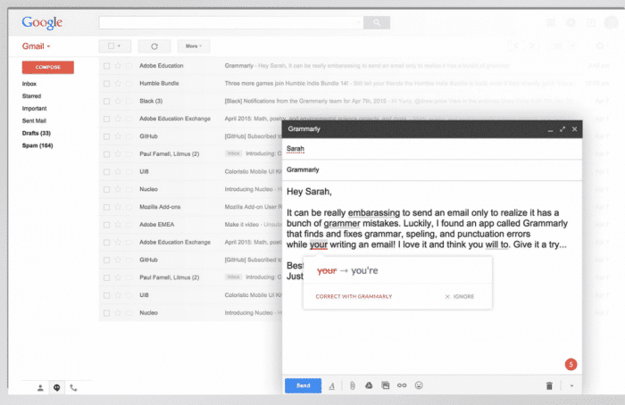 Grammarly proofreading for Gmail